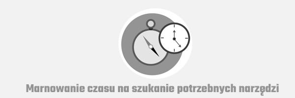 marnowanie czasu na szukanie potrzebnych narzedzi